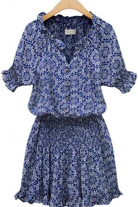 Fashion New Blue Floral dress