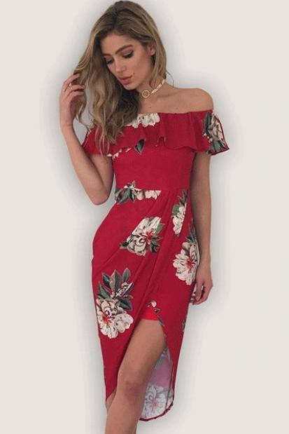 Fashion New Off Shoulder Chiffon Floral Dress - Red