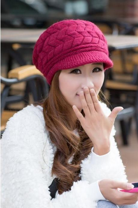 Free Shipping Cute Winter Hat Knit Cap For Women - Wine Red