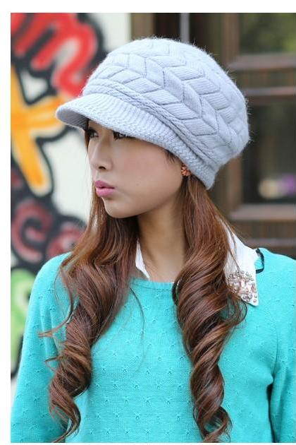 Free Shipping Cute Winter Hat Knit Cap For Women - Blue