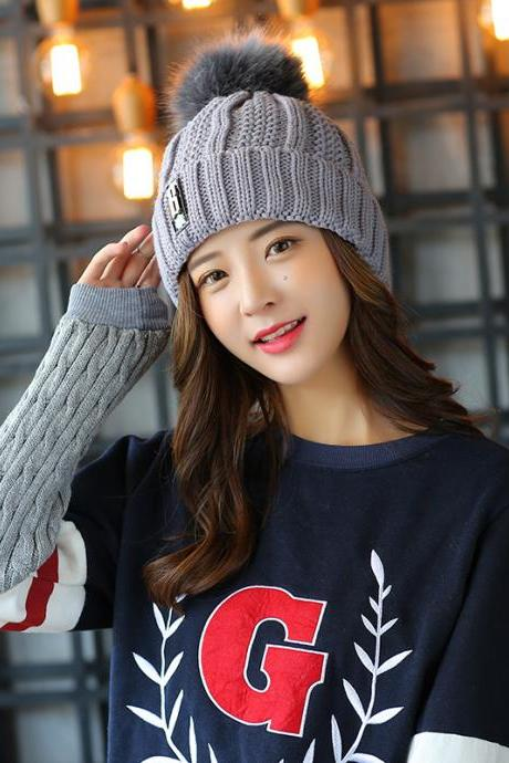 Free Shipping Super Cute Hat Knit Cap For Winter - Grey