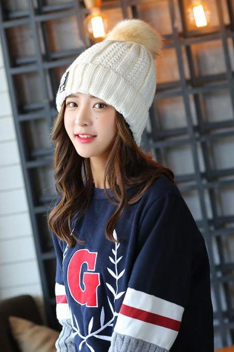 Free Shipping Super Cute Hat Knit Cap For Winter - White