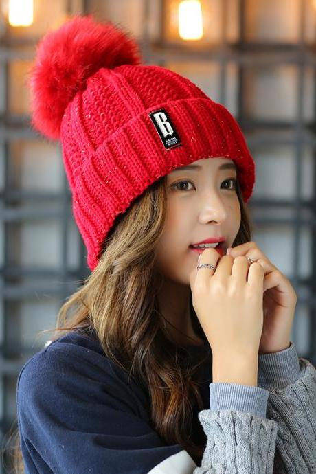 Free Shipping Super Cute Hat Knit Cap For Winter - Red