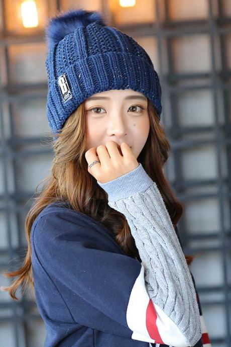 Free Shipping Super Cute Hat Knit Cap For Winter - Blue