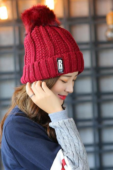 Free Shipping Super Cute Hat Knit Cap For Winter - Wine Red