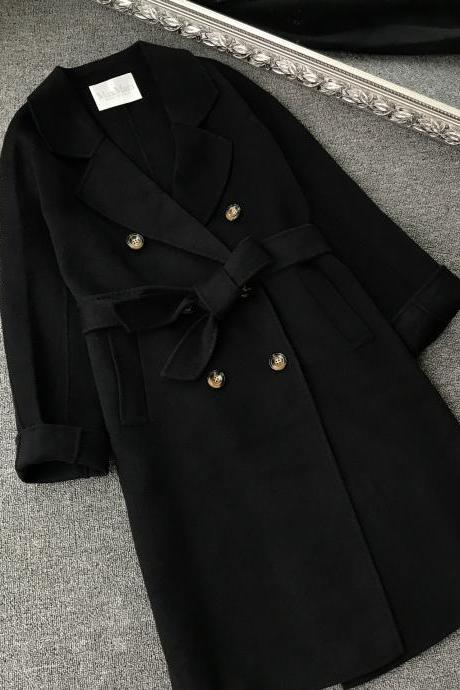 High Quality Long Sleeve Turndown Collar Double Breasted Full Woollen Coat - Black