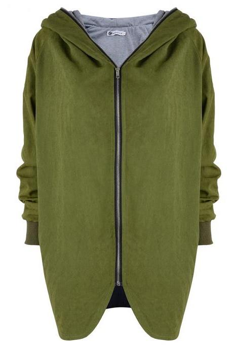 Fashion New Women Loose Hooded Collar Zipper Coat - Green