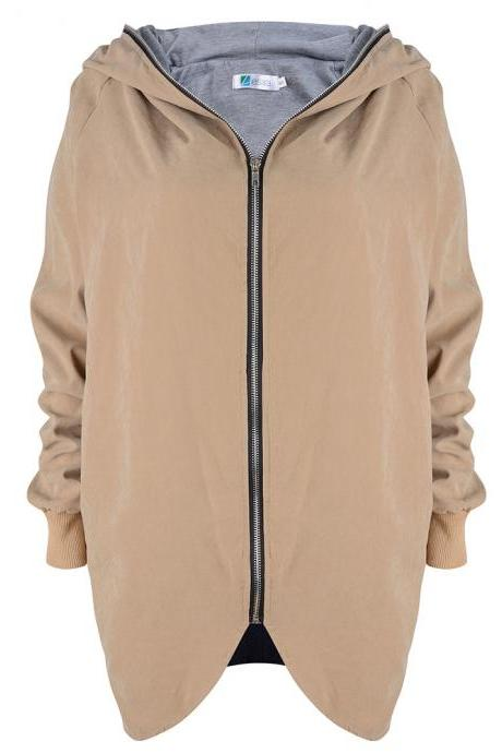 Fashion New Women Loose Hooded Collar Zipper Coat - Khaki