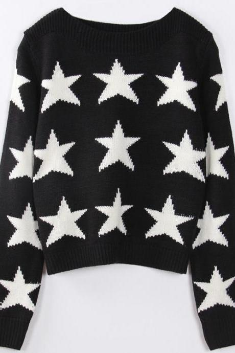 White Star Print Black Knitted Crew Neck Long Cuffed Sleeves Sweater