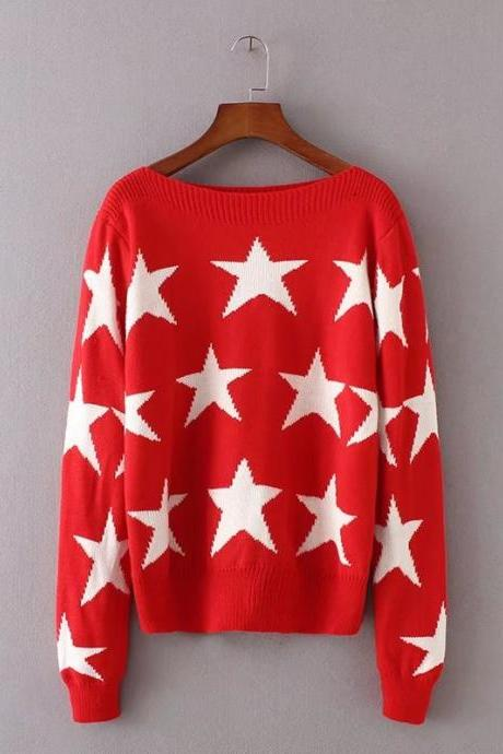 Fashion Star Print Pullover Sweater - Red