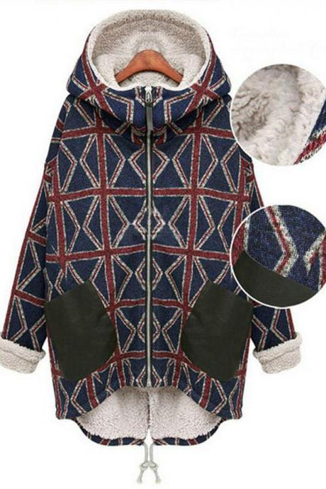 Fashion New And Good Quality Plaid Print Hairy Inside Warm Coat For Woman