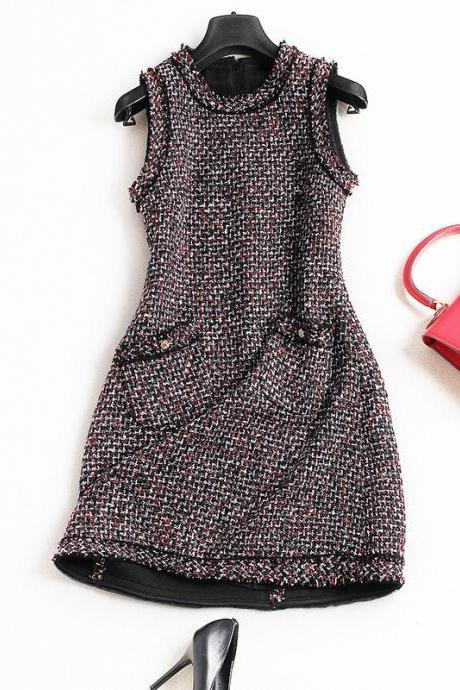 Vintage Designer Sleeveless A-line Dress For Autumn&Winter