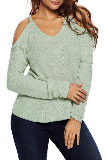Light Green Knit Plunge V Cold Shoulder Long Sleeves Sweater