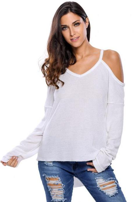 White Knit Plunge V Cold Shoulder Long Sleeves Sweater