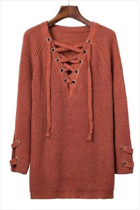 Knit Lace-Up Plunge V Long Sleeves Sweater