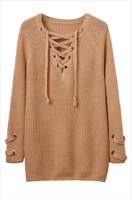 Knit Lace-Up Plunge V Long Sleeves Sweater in Khaki
