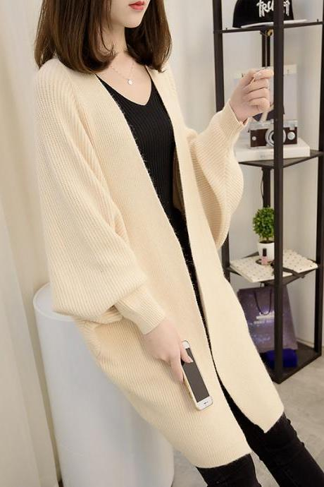 Fashion New Women Loose Style Long Sweater Cardigan - Beige