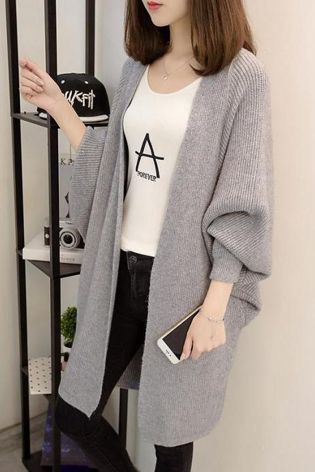 Fashion New Women Loose Style Long Sweater Cardigan - Grey