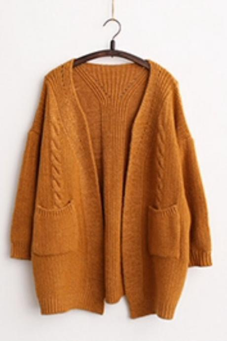 Khaki V Neck Cable Knit Open Front Long Sleeve Cardigan, Sweater