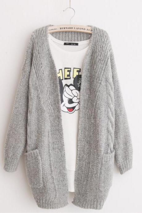 Grey Oversized Knitted Open Front Cardigan Sweater with Pockets