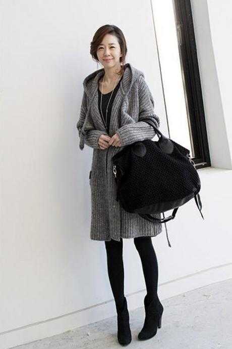 Fashion Winter Long Sleeve Hooded Sweater Cardigan Coat