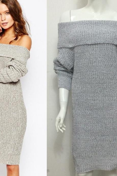 Sexy And Fashion Women's Long Sleeve Off Shoulders Sweater Dress