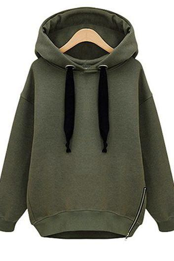 Fashion Long Sleeve Zipper Embellished Hoodie Coat (4 Colors)
