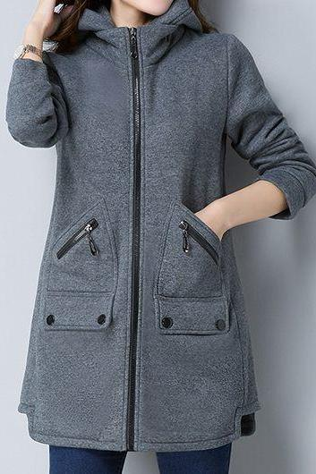 Casual Zipper Up Hooded Collar Pocket Coat - Grey