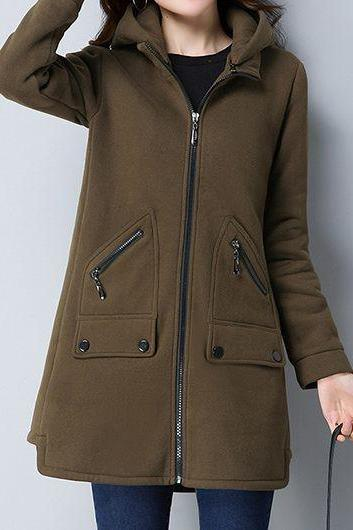 Casual Zipper Up Hooded Collar Pocket Coat - Army Green
