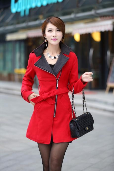 Fashion Turndown Collar Zipper Belted Woolen Winter Coat - Red