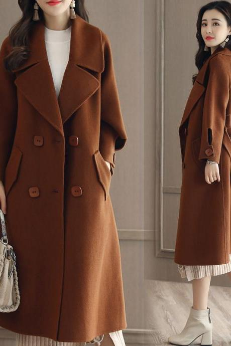 Luxurious And Fashion Loose Long Wool Winter Coat - Caramel Color