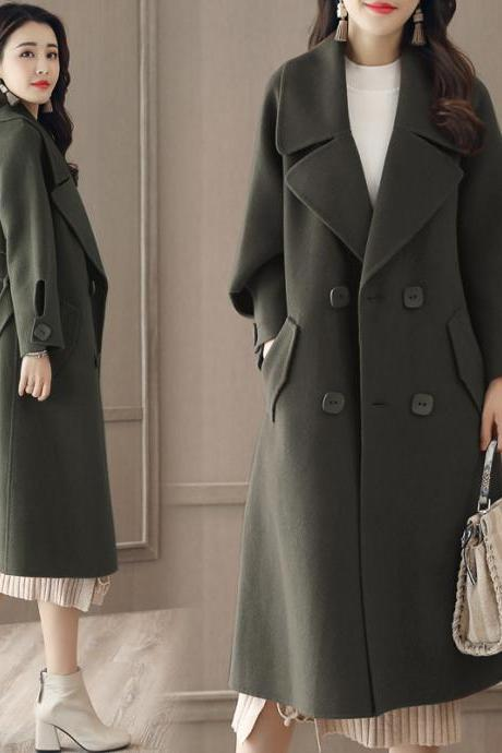 Luxurious And Fashion Loose Long Wool Winter Coat - Army Green