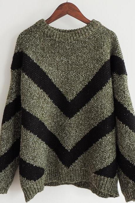High Quality Fashion New Geometric Print Sweater For Women - Green