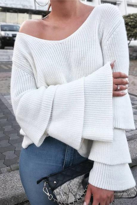Knitted Plunge V Long Flounce Sleeves Sweater