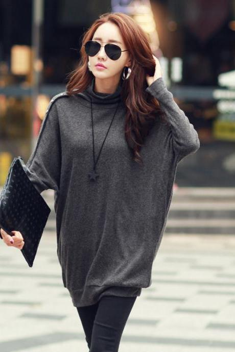 Fashion Bat-wing Sleeve Sweater - Grey