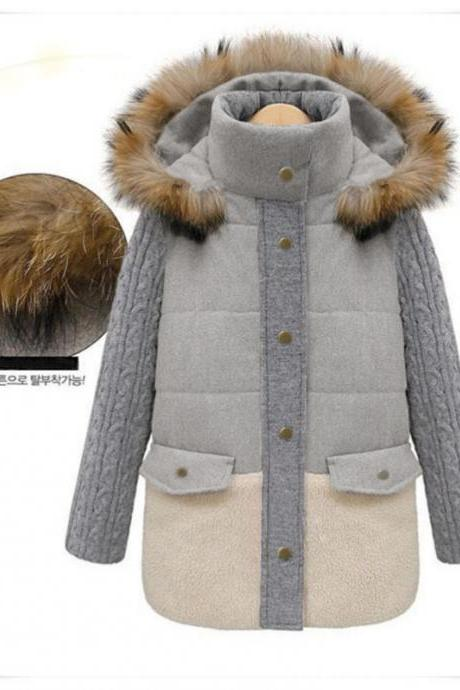 High Quality Light Grey Hooded Woolen Coat For Woman 8170