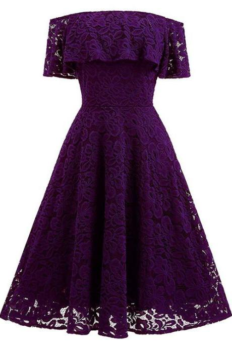 Purple Lace Off-The-Shoulder Short Skater Dress