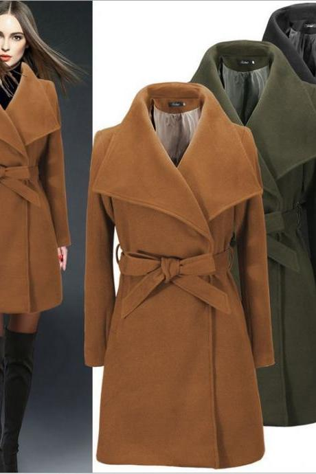 Charming Turndown Collar Cashmere Winter Coat With Belt (3 Colors)