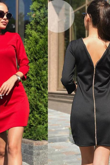 Free Shipping Fashion Long Sleeve Back Zipper Pencil Dress (3 Colors)