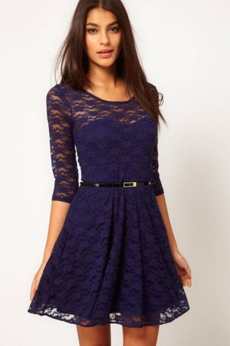 Fashion Lace Stitching Round neck long-sleeved dress with belt - Dark Blue
