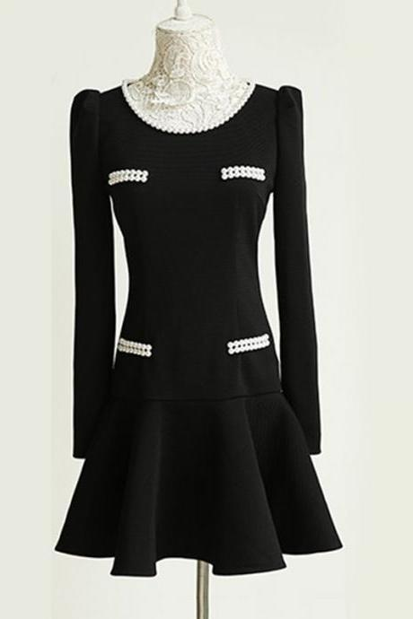 Luxury Black Long Sleeve Dress