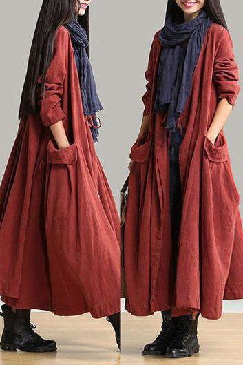 Casual Pocket Design Long Sleeve Maxi Dress