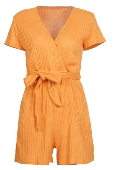 Yellow Knitting Solid Rompers With Belt