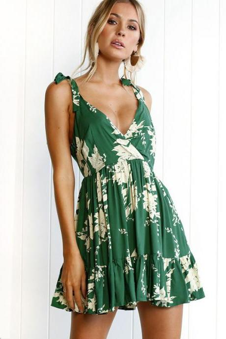 Fashion Green V neck Floral Print Chiffon Dress