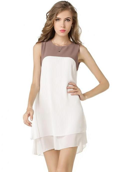 Free Shipping Chiffon White Chiffon Dress
