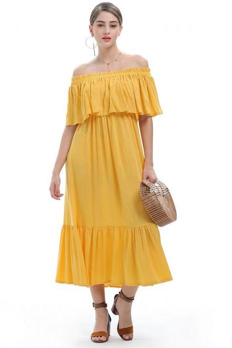 Yellow Off Shoulder Chiffon Ruffle Maxi Dress