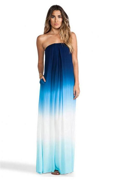 Fashion Gradient Color Strapless Chiffon Maxi Dress