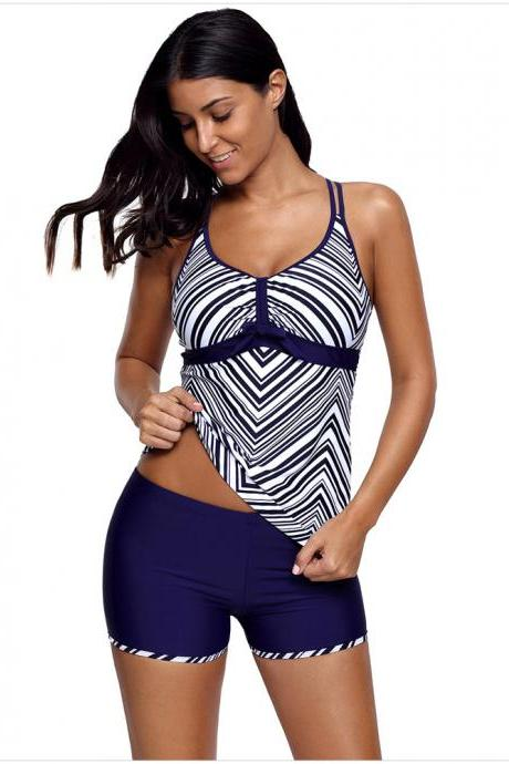 Double Cross Back Bowknot Front Striped Tankini Set