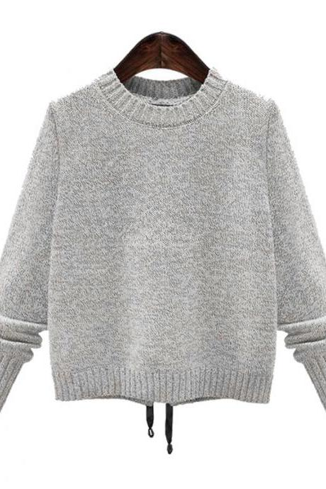 Designer Round Neck Grey Long Sleeves Sweater
