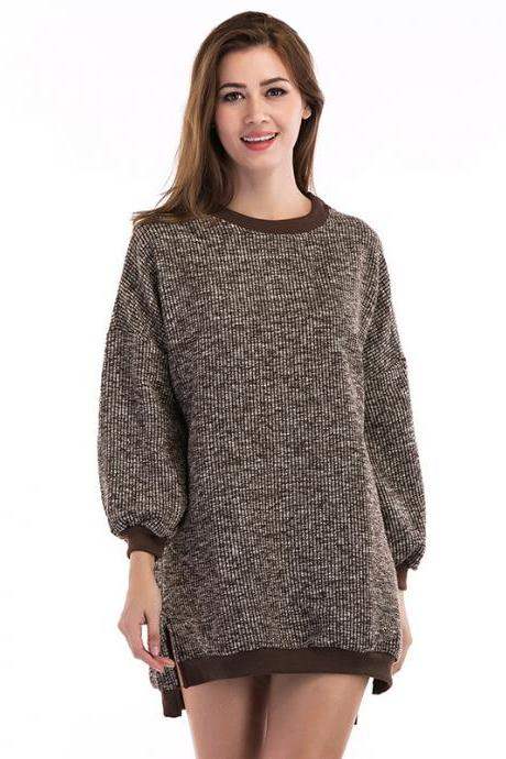 Women Loose Round Neck Long Sleeve Sweater - Khaki